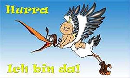 U24 Fahne Flagge Hurra Ich Bin da Baby Geburt Babyfahne Storch 90 x 150 cm