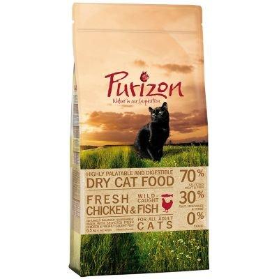 Wangado Purizon Adult Gato - Pollo y Pescado, sin Cereales, con el 70% de Carne de Pollo y Pescado seleccionados. Paquete de 2,5 kg.