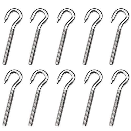 Aallo 10 Stück M6 Bolzen Schraube Artikel Schraube Haken Hakenschrauben Wandhaken 304 Edelstahl Ring Schraube, Silber