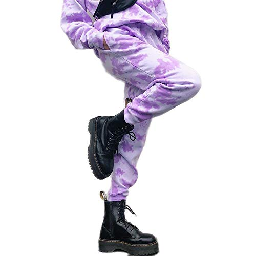Lovely-Star Batik-Hose für Damen, hohe Taille, legere Hose, Jogger, Streetwear - Violett - Medium