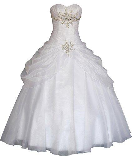 Romantic-Fashion Brautkleid Hochzeitskleid Weiß Modell W088 A-Linie Strass Satin Trägerlos Perlen Pailletten DE Größe 42