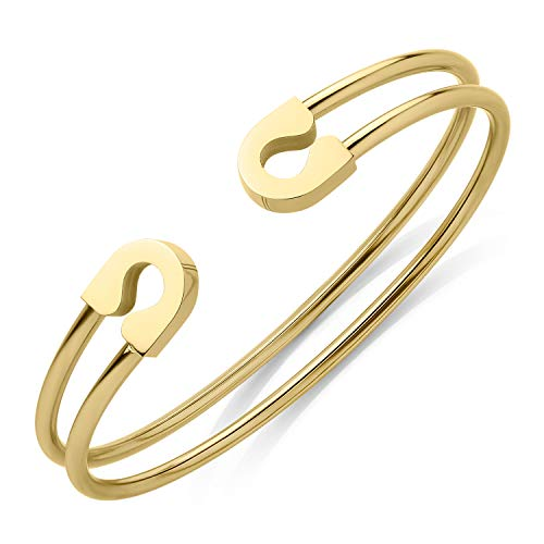 555Jewelry Stainless Steel Dual Wire Open Cuff Bangle Bracelet for Women & Girls L Gold