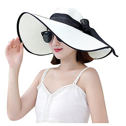 FeelFree+ Sombrero de Mujer grande protección solar verano serpentina Pamela Playa Personalizada Nombre Hecho Mano Sombrero Mujer Despedidas de Soltera Verano Playa Sombrilla Vacaciones