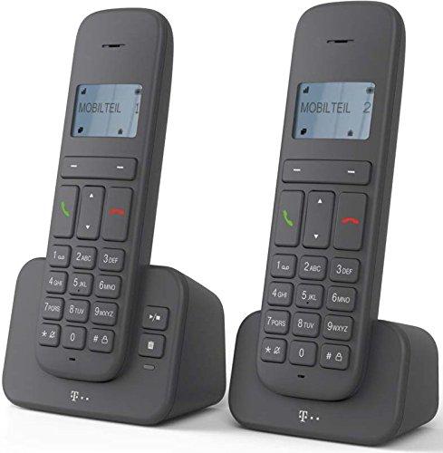 """Sinus 40318193 \""""CA 37\"""" Duo Schnurlostelefon (Dot-Matrix-Display, Anrufbeantworter) anthrazit"""