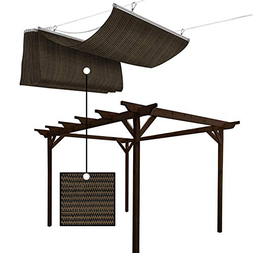 GDMING Outdoor Retractable Wave Shade Sail Anti-UV Encryption Breathable Slide On Wire Sunshades For Deck Patio Backyard Polyester, 56 Size (Color : Brown, Size : 85X800CM)