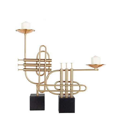Penao Romantischer Kerzenständer aus Schmiedeeisen-Marmor, kreativer Sark-Kerzenständer, Zweiteilige Verzierung aus weichem Ornament, 450mmx330mm / 230mmx540mm