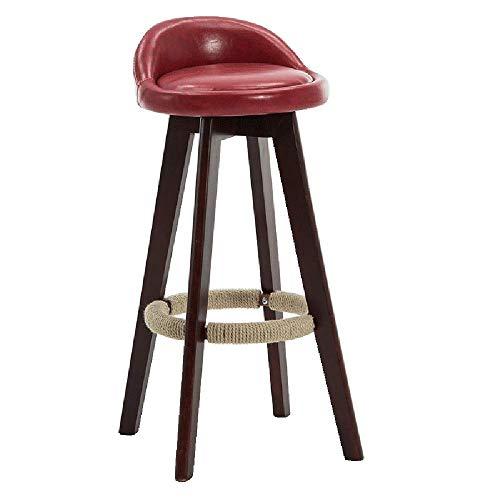 LQRYJDZ Barstuhl Massivholzstuhl mit hoher Rückenlehne Modischer Schreibtischstuhl , Ölwachshaut Dunkelbraun 360 ° drehbarer Barhocker Stuhl Moderner Barhocker Runder Barhocker Counter 28,7 Zoll