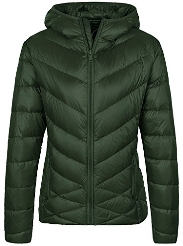 Wantdo Women's Hooded Packable Lightweight Short Down Jacket Blackish Green L
