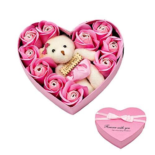 xiaocheng Rose Oso Amor en Forma de corazón Caja de Regalo de baño de Flores 10 perfumada Rosa Caso Práctico artículos del hogar