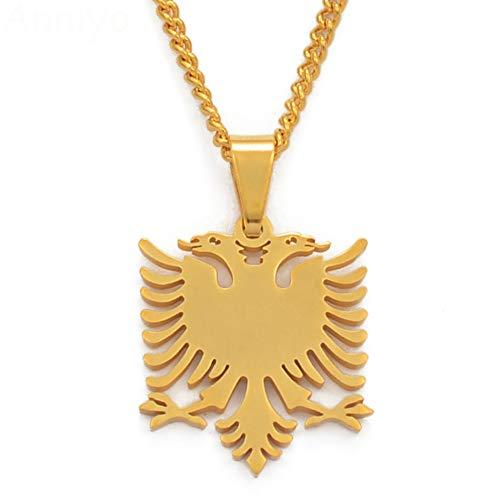 VAWAA Albanien Adler Kleine Anhänger Halsketten Gold Farbe & Edelstahl Schmuck Ethnische Geschenke Für Frauen Mädchen Kinder 45 cm Dünne Kette