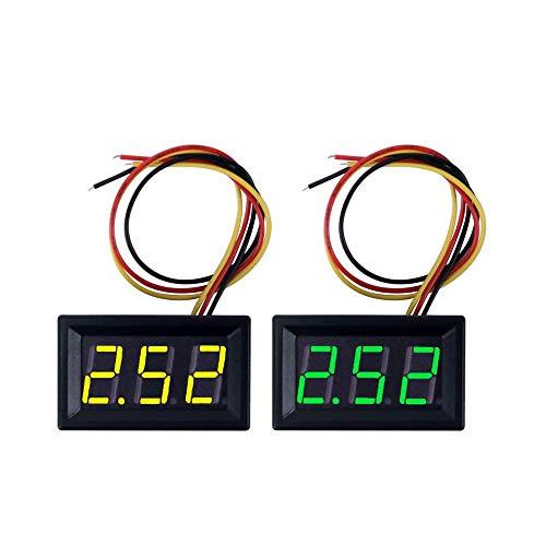 Jolicobo 2Pcs 3 Draht Led Digitalanzeige Panel Volt Meter Spannung Voltmeter (Grün und Gelb)