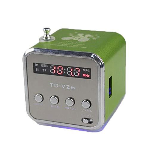 JiaHan Estéreo portátil Mini Altavoz de TD-V26 Reproductor de música Digital SD TF Radio de FM Altavoz con Carga y Audio Verde del Cable