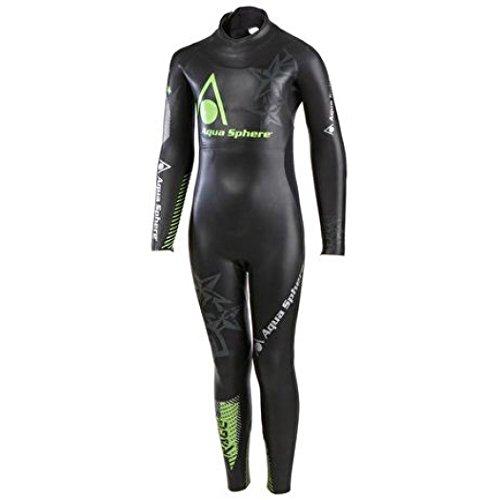 AQUA SPHERE Rage Full Sleeve Wetsuit Junior, Negro/Verde, 10 Años