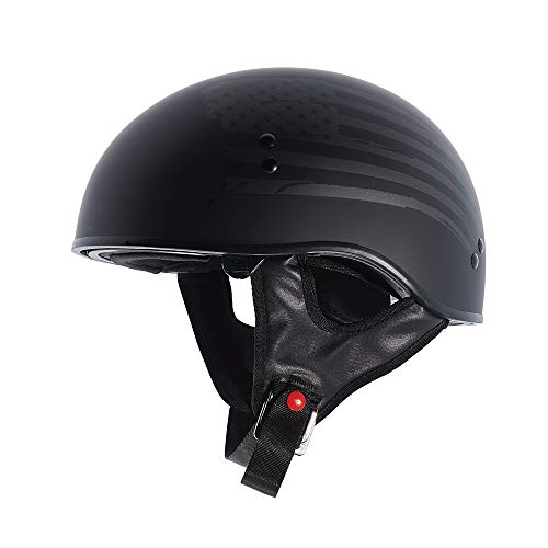 TORC Unisex-Adult T55 Spec-Op Motorcycle Half Helmet with Graphic and Drop-Down Sun Visor (Flag) (Flat Black, Small)
