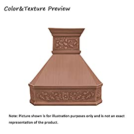 """SINDA Natural Beautiful Copper Kitchen Hood, Handcrafted by Skilled Artisan, Comes with High Air Flow Motor Fan, 48""""Wx42""""H Island Mount, Smooth-Natural Copper, H14LA-SNI4842 7 SIZE: Island Mount 48""""Wx42""""H.The width of an island mount copper range hood should be 3-6 inches wider than the cooktop. And the height range between your cooktop and the copper range hood should be from 30 to 36 inches. We suggest a height of 36 inches for an island mount. Custom sizes available upon request by email. Material: 16 gauge pure virgin copper. PATINA&TEXTURE: Smooth; Natural Copper. Want to touch a real finish? You may click on this link: https://www.amazon.com/dp/B07Q3FS4NQ. BASIC EQUIPMENT: Stainless Steel 304 Vent with Liner and Internal Motor, Reusable Baffle Filter, Grease Channel, Yellow LED lights(3W 12V) and 4-Speed Control; Powerful Airflow Fan: (30""""/36""""W: single motor, 610 CFM, 6"""" round duct; 42""""/48""""W: dual motors, 960CFM, 8"""" round duct); Ductless and remote blowers with In-line liner options available upon request by email;"""