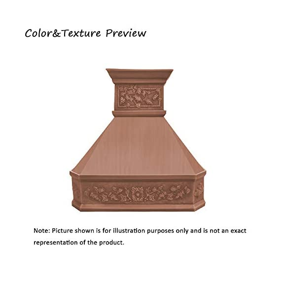 """Sinda natural beautiful copper kitchen hood, handcrafted by skilled artisan, comes with high air flow motor fan, 48""""wx42""""h island mount, smooth-natural copper, h14la-sni4842 1 size: island mount 48""""wx42""""h. The width of an island mount copper range hood should be 3-6 inches wider than the cooktop. And the height range between your cooktop and the copper range hood should be from 30 to 36 inches. We suggest a height of 36 inches for an island mount. Custom sizes available upon request by email. Material: 16 gauge pure virgin copper. Patina&texture: smooth; natural copper. Want to touch a real finish? You may click on this link: https://www. Amazon. Com/dp/b07q3fs4nq. Basic equipment: stainless steel 304 vent with liner and internal motor, reusable baffle filter, grease channel, yellow led lights(3w 12v) and 4-speed control; powerful airflow fan: (30""""/36""""w: single motor, 610 cfm, 6"""" round duct; 42""""/48""""w: dual motors, 960cfm, 8"""" round duct); ductless and remote blowers with in-line liner options available upon request by email;"""