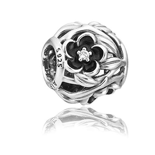 Mystic Floral Authentic 925 Sterling Silver Bead Charm Fits Pandora Charm Bracelet DIY Crafting