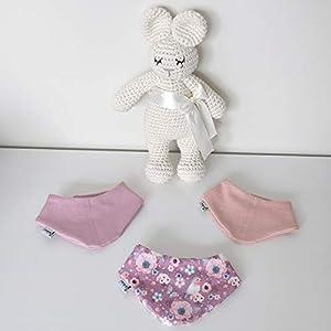 3er Set Halstücher – Altrose/Rose meliert/Vögelchen Baby Junge Baby Mädchen Halstuch Spucktuch Lätzchen