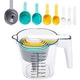 Set de Tazas y Cucharas Medidoras, Ouinne Cuchara Medidora Conjunto de Taza Medidora de Plástico Graduado de 1000 ml para Hornear en La Cocina