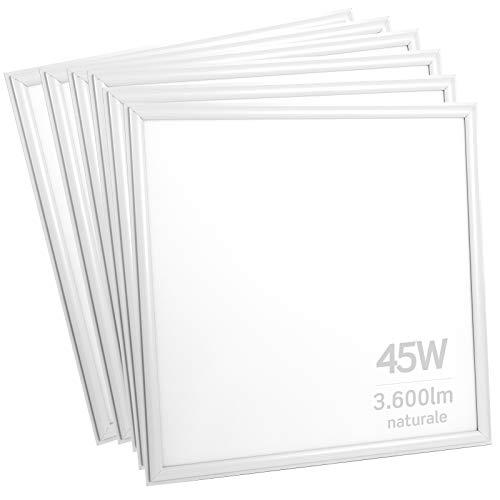 6x Pannelli LED Professionali 45W 60x60cm 3600 lumen - Luce Bianco Naturale 4000K - Fascio Luminoso 120°