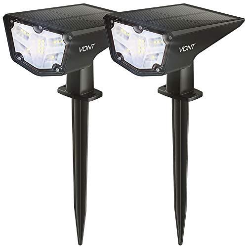 Vont 16 LEDs Outdoor Solar Lights [2 Pack] IPX7 Waterproof Landscape Spotlights, Garden Lights, Wireless Solar Powered Outdoor Lights/Lighting for Yard, Walkway, Driveway, Porch, Patio (Cool White)