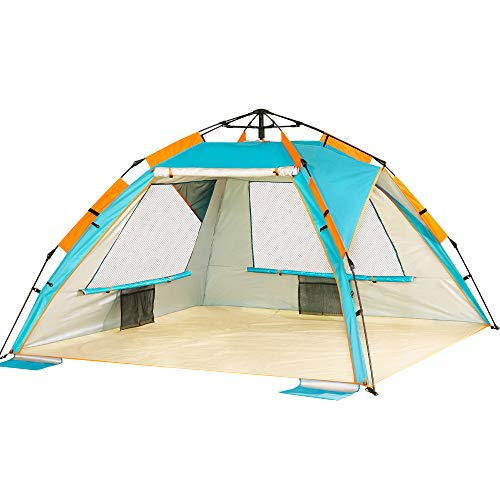 ZOMAKE Pop Up Beach Tent - Instant Sun Shelter, Portable Beach Tent Pop Up Shade with SPF 50+ UV Protection for Kids & Family