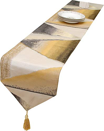 HoliSelear Multi-Size Colorful Table Runner 12 x 72 Inch for Long Side Desk Tall Kitchen Tea/Coffee Table Dining Room Decoration Party Dresser Gold