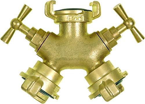 GEKA 80333CSB Zweiwegeventil 1/2 Zoll mit Regulier-Schließventil aus Messing, Gold, 18 x 8 x 13 cm