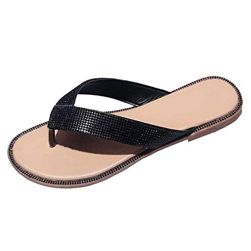 reef flip flops women composite toe flat floor sandals slippers roman rhinestone cheap flip flops fire and safety shoes clear sandals simple beautiful breathable summer(Black,8)