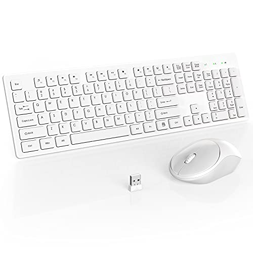 RATEL Wireless Keyboard Mouse Combo, 2.4GHz Slim Full-Sized Silent Wireless Keyboard and Mouse Combo with USB Nano Receiver for Laptop, PC (Off White)