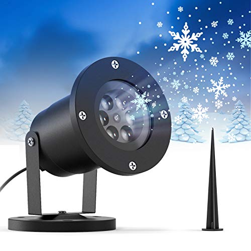 Ltteny Christmas Snowflake Projector Lights, Rotating Light Projector with Remote Control, IP65 Waterproof Landscape Decorative Lighting Outdoor for Holiday Halloween Party Garden