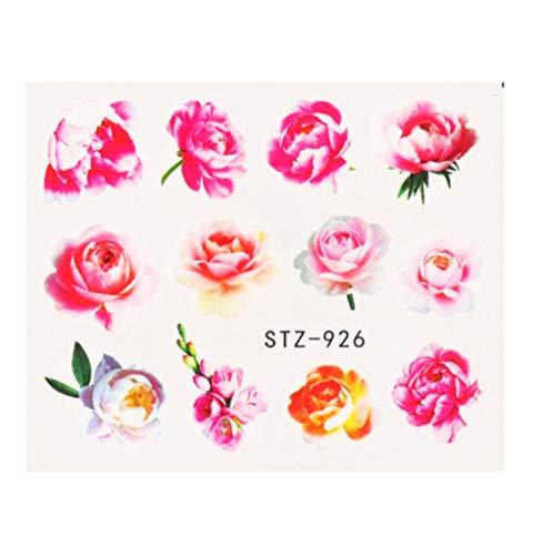 JSIYU Stickers Ongle Série de Fleurs Nail Water Decal Sticker Floral Sakura Daisy Rose Leaf Transfer Slider Foil Nail Decoration E-Y03