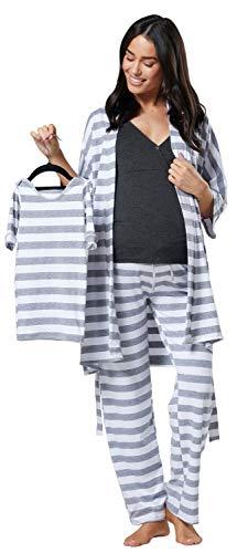 Happy Mama Women's Maternity Nursing Pyjama Gown Baby Mama 4pcs Matching Set 181