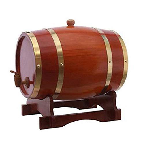 Barril de Roble Barriles de roble, barriles de roble de madera vintage de 3L, adecuados for elaborar cerveza o almacenar cerveza, whisky, vino blanco, práctico y duradero ( Color : Chocolate color )