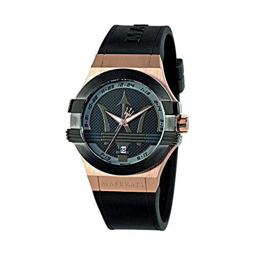 Reloj para Hombre, Colección Potenza, Movimiento de Cuarzo, Solo Tiempo con Fecha, en Acero, PVD Oro Rosa, PVD Negro y Poliuretano - R8851108002