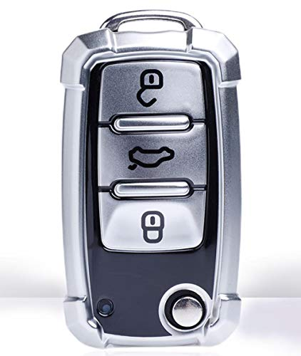 Funda para Llave de Coche para Volkswagen VW Golf 4 5 6 Bora Jetta Polo Passat b5 b6 Skoda Superb Octavia Fabia Funda de Asiento Protector-Plata