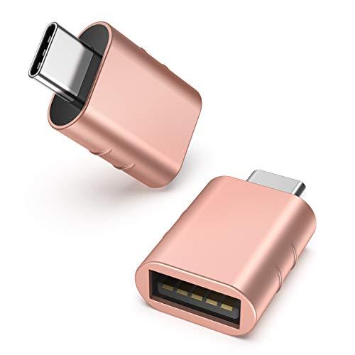 Syntech USB C auf USB Adapter(2 Stücke), Thunderbolt 3 to USB 3.0 Adapter Kompatibel mit MacBook Pro 2019, MacBook Air 2019/2018, Dell XPS - Roségold