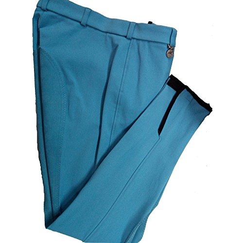 Pikeur Reithose Lugana in Blau mit blauem Vollbesatz 7913 schlanker Bund, Reißverschlusstasche, Klettabschlüsse, hellblau. (38, Blau)