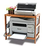 Soporte de Impresora 2 capas de bambú impresora Soportes Organizadores sobremesa con ajustable almacenamiento Accesorios estante for impresora, libros, objetos pequeños Rack de Almacenamiento para Imp