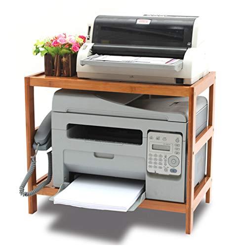 Printerstandaard, 2-laags, bamboe, printerstandaard, Desk Organizer met instelbare opbergtoebehoren, rek voor printers, boeken, kleine onderdelen en kantoorbenodigdheden 50×30×42cm