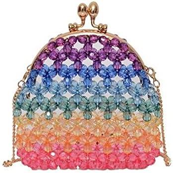 Luxury Rainbow Gradient Shell Sharp Handbag Shining Evening Bags for Girls Shoulder Bags Crossbody Bags