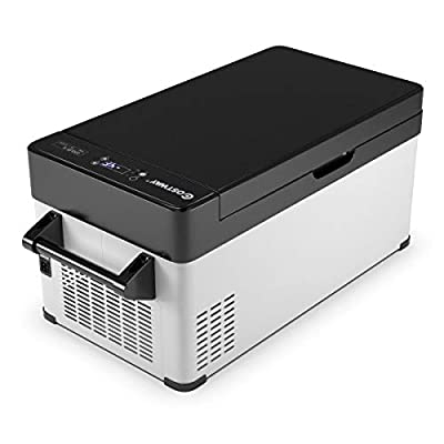 COSTWAY Portable Car Refrigerator, -13°F to 50°F, Electric 32-Quart Compressor Cooler Freezer with Energy-Saving Mode, Built-in Handle, Outdoor Compact Vehicle Fridge for Camping, Picnic and Travel
