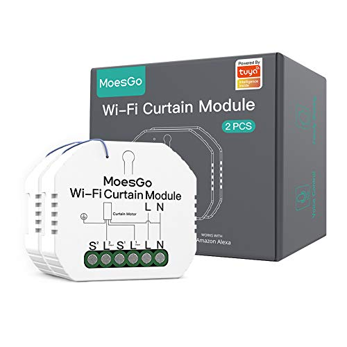 MoesGo WiFi Mini DIY Persianas enrollables inteligentes,módulo de interruptores para persianas y cortinas con motor eléctrico,compatible con las aplicaciones Smart Life/Tuya,Alexa y Google Home(2PCS)