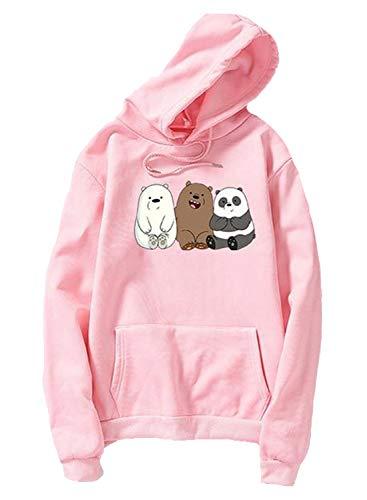 LOSRLY - Sudadera con capucha para mujer, diseño de oso creativo con estampado de oso con bolsillos laterales, ropa deportiva suelta, camiseta deportiva