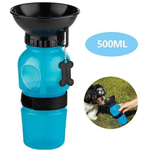 MICHETT Hunde Wasserflasche 500ml Hunde Trinkflasche für Unterwegs BPA Frei Multifunktion Hunde Katzen Flasche Wasserdicht und Auslaufsicher Ideal für Unterwegs, Reise und Wandern