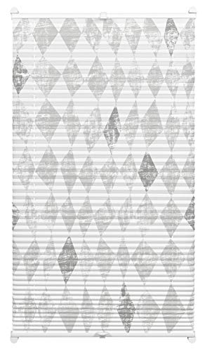 EASYFIX Plissee mit 2 Bedienschienen Circus grau 80 x 130, Swedish Moments
