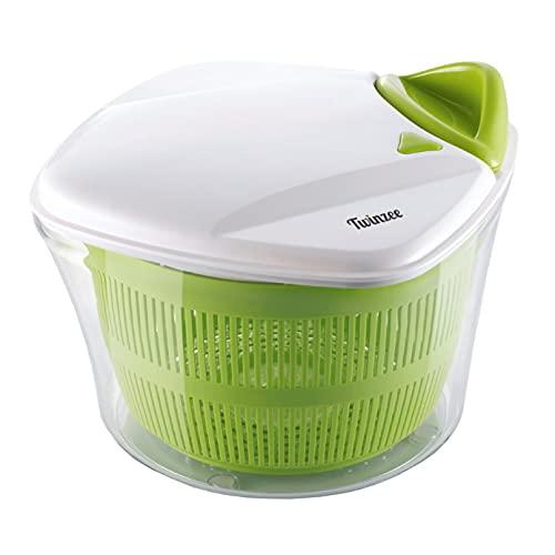 Twinzee Salatschleuder – großes Fassungsvermögen (5L) – Innovatives Design mit Ablaufsieb für das Wasser und einer Salatschüssel - Effektives und einfaches Schleudern dank Ziehgriff