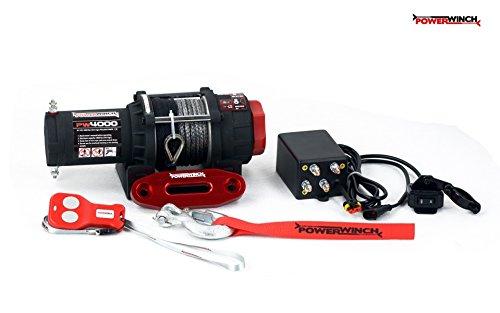 Elektrische Seilwinde PowerWinch 4000lbs ATV 12V 1814kg Funk UTV Quad Synthetik