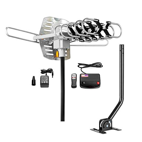 ViewTV Upgraded 2020 Version Outdoor Amplified Antenna with Adjustable Antenna Mount Pole - up to 150 Miles Range - 360° Rotation - New Wireless Remote with Bonus Mini Antenna