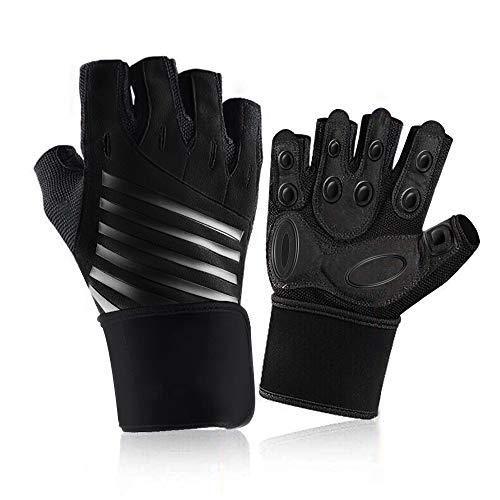 Guantes deportivos de gimnasia, guantes de soporte para la muñeca HUALLY, protección completa para las palmas y agarre extra L